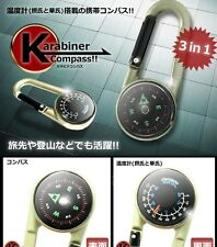 Carabiner Compass Thermometer Celsius, Fahrenheit.