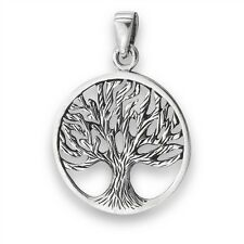 TREE OF LIFE Outline Charm Pendant Sterling Silver 925