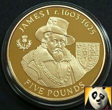 2007 ALDERNEY £ 5 Cinque sterline Re Giacomo I argento e oro placcato Proof Coin + COA