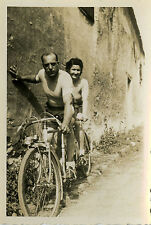 PHOTO ANCIENNE - VINTAGE SNAPSHOT - TANDEM VÉLO BICYCLETTE CYCLISTE - BIKE