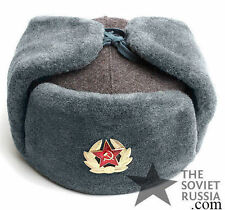 Vintage Ushanka Russian Soviet Army Military Uniform Winter Hat Original Surplus