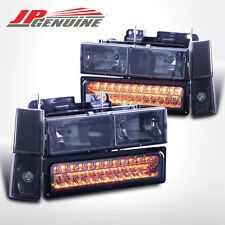 88-93 C10 C/K Pickup/Suburban/Tahoe LED Bumper+Corner+Headlights Set Smoke/Amber