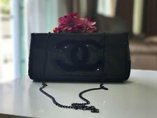 CHANEL BEAUTE' GLOSSY BLACK COSMETIC MAKEUP VIP GIFT CHAIN COSMETIC CLUTCH/BAG