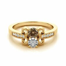 1.097  Carat Brown&White VS2-SI1 2 Diamond Solitaire Engagement Ring 14k YG