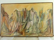 1958 Vintage ABSTRACT EXPRESSIONIST BRUTALIST OIL PAINTING MID CENTURY Signed