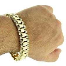 "Hip Hop Bracelet Watch Band Style Links Iced-out Gold Tone 15MM Wide 8.5"" Mens"