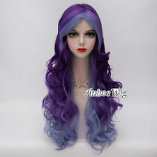 Blue Mixed Curly Halloween 70CM Long Fancy Anime Cosplay Party Lolita Style Wig