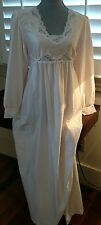 Vintage Barbizon Icy Pink Brushed Back Satin Full Length Nightgown Sz S/M
