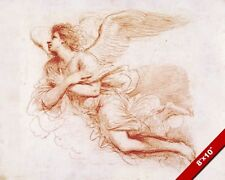 ANGEL IN FLIGHT BARBIERI SKETCH PAINTING BIBLE CHRISTIAN ART REAL CANVAS PRINT