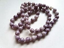 Vintage Art Deco Venetian Iridescent Mottled Purple Glass Bead Necklace