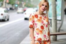 ZARA BLOGGERS FLORAL PRINT TOP SHIRT BLOUSE SIZE SMALL