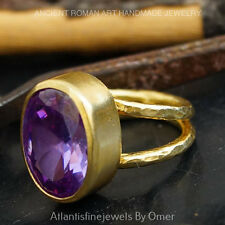 DOUBLE SHANK LARGE HANDFORGED AMETHYST RING 24K GOLD OVERFINE  SILVER BY OMER