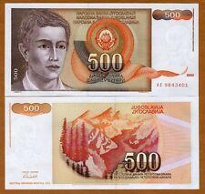 Yugoslavia, 500 Dinara, 1991, Pick 109, UNC   Young Man