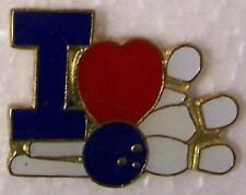 Hat Lapel Pin sports I Heart Love Bowling NEW