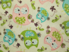 OWLS HOOT OWL PINK GREEN BLUE WHITE FLANNEL FABRIC FQ OOP
