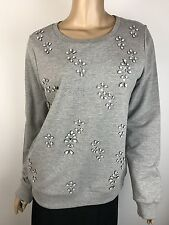 Joie Soft Sweat Shirt NWT $168 Sz M L/S Grey w White & Clear Beads Cotton Blend