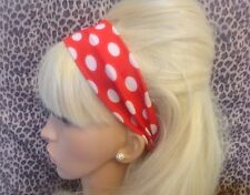 RED WHITE POLKA DOT SPOT JERSEY STRETCH RETRO HAIR HEAD BAND HOLIDAY GYM DANCE