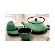 Bamboo Green Cast Iron Tea Set Teapot Teacups TS9/06G