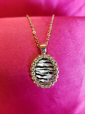 "Very Cute Zebra Pattern Gold Color and Cut Glass Pendent and 18"" Chain"