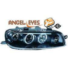Coppia fari fanali anteriori TUNING PUNTO 99-03 neri con anelli angel eyes H1+h1