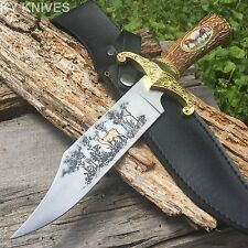 "12"" Collector Bowie Hunting Knife W/Deer Scene on Blade IMT STAG With Sheath -T"