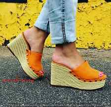 ZARA MUSTARD STUDDED WEDGES SANDALS WITH JUTE EFFECT HEEL SIZE 6