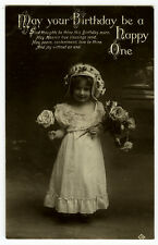 c 1910 child Children Pretty LITTLE GIRL CUTEY tinted photo postcard