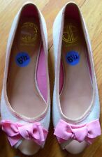 NWOB Lilly Pulitzer Ivory Canvas and Pink Bow Peep Toe Shoes 6 1/2B  6.5M  $210