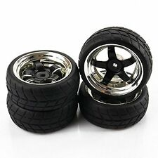 SkyQ 5 Spoke RC 1/10 Scale Car On Road Tires Tyre and Wheel Rims Black Plated
