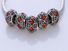 New Hot 5pcs silver crystal spacer beads fit European Charm Bracelet Z-12
