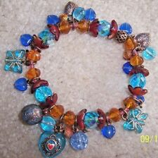 NEW SATELLITE PARIS  GLASS BUTTERFLIES, HEARTS & CRYSTAL BEADS STRETCH BRACELET