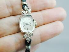 Antique 14k White Gold & Diamond Longines Mechanical Wind Wrist Watch RUNS