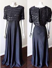 Full Circle Vintage 70s Embellished Knit Crop Top Sequin Black Cocktail Dress L