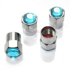 4 Bling Blue Diamond Tire/Wheel Air Pressure Stem Valve CAPS for Auto-Car-Truck