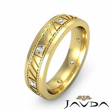 Mens Solid Ring Eternity Wedding Bezel Round Diamond Band 14k Yellow Gold 0.15Ct