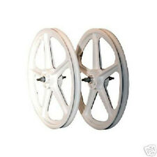 "Skyway Tuff Wheel 2 Mag BMX Wheels White 20"" Set Freewheel USA Made"
