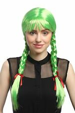 Wig Ladies Carnival Cosplay Carnival Pigtails braided Schoolgirl Green