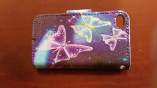 Purple Butterfly Wallet packets Leather Flip Case cover for Apple iPhone 4 4S