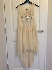 10 LIPSY DRESS CREAM SEQUIN DIP HEM FLOATY CHIFFON WEDDING SUMMER BRIDESMAID