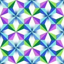 QT Fabrics  Just Trippin' Blue Faceted Geometric Trippy Cotton Fabric Yardage A2