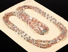 """Vtg 27"""" Czech 3 strand necklace pentagon pink crystal mirrored glass beads"""