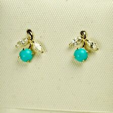 14k solid y/gold natural ArizonaTurquoise small earrings screw back, 0.85 tcw