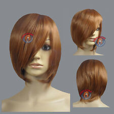 "16""  Hi_Temp Series Light Brown Long Layer Bob Cut  Short Cosplay DNA Wigs 65LLB"