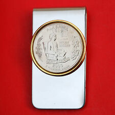 US 2003 Alabama State Quarter BU Uncirculated Coin Two Toned Money Clip New