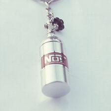 NOS Flasche Nitro Schlüsselanhänger in Silber f. Auto,Tuning Boost Turbolader
