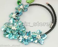 BEAUTIFUL HANDWORK Peacock Blue Mop SHELL & PEARL Leather Rope NECKLACE