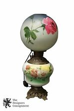 "Antique Victorian Hand Painted 22"" Gone with the Wind Converted Oil Table Lamp"