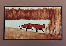 5 Handmade Fox Note Cards on Brown Paper Stationery with Envelopes Greeting Card