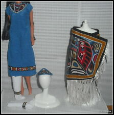 OUTFIT BARBIE DOLL NATIVE AMERICAN CEREMONIAL DRESS CHILKAT ROBE MOCCASINS
