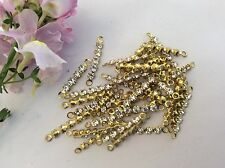 Vintage rhinestone bar 22mm brass set 2 loop Swaroski Crystal CRAFT 10 Post free